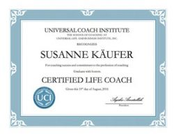 Susi Kaeufer Certificate for Certified Life Coach