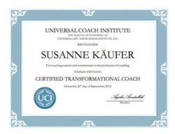 Susi Kaeufer Certificate for Certified Transformational Coach